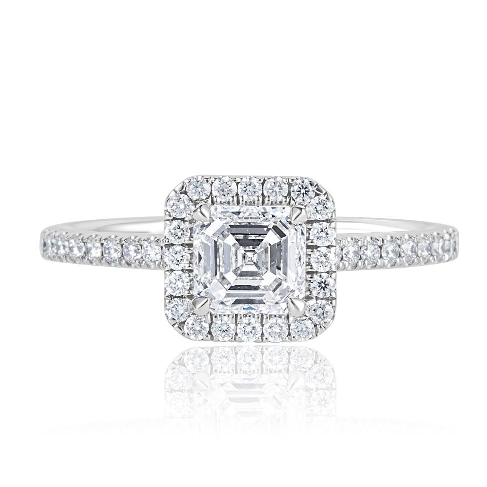 Platinum Asscher Cut Diamond Halo Engagement Ring 1.55ct Thumbnail Image 1
