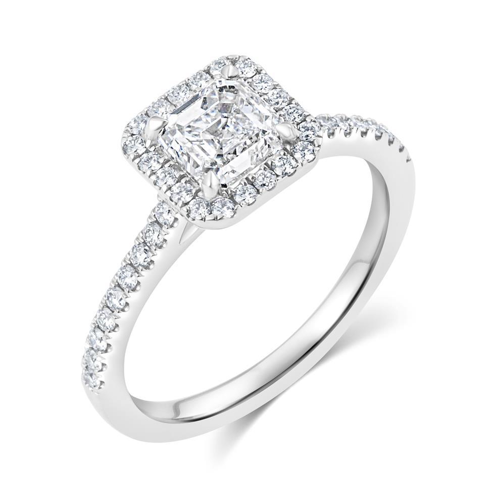 Platinum Asscher Cut Diamond Halo Engagement Ring 1.55ct Thumbnail Image 0