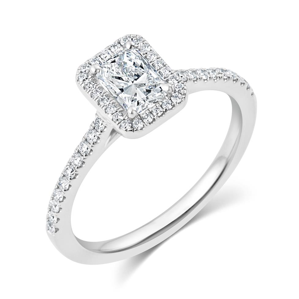 Platinum Radiant Cut Diamond Halo Engagement Ring 0.90ct Thumbnail Image 0