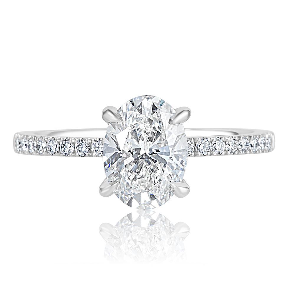 Platinum Bezel Detail Oval Diamond Solitaire Engagement Ring 1.77ct Thumbnail Image 2