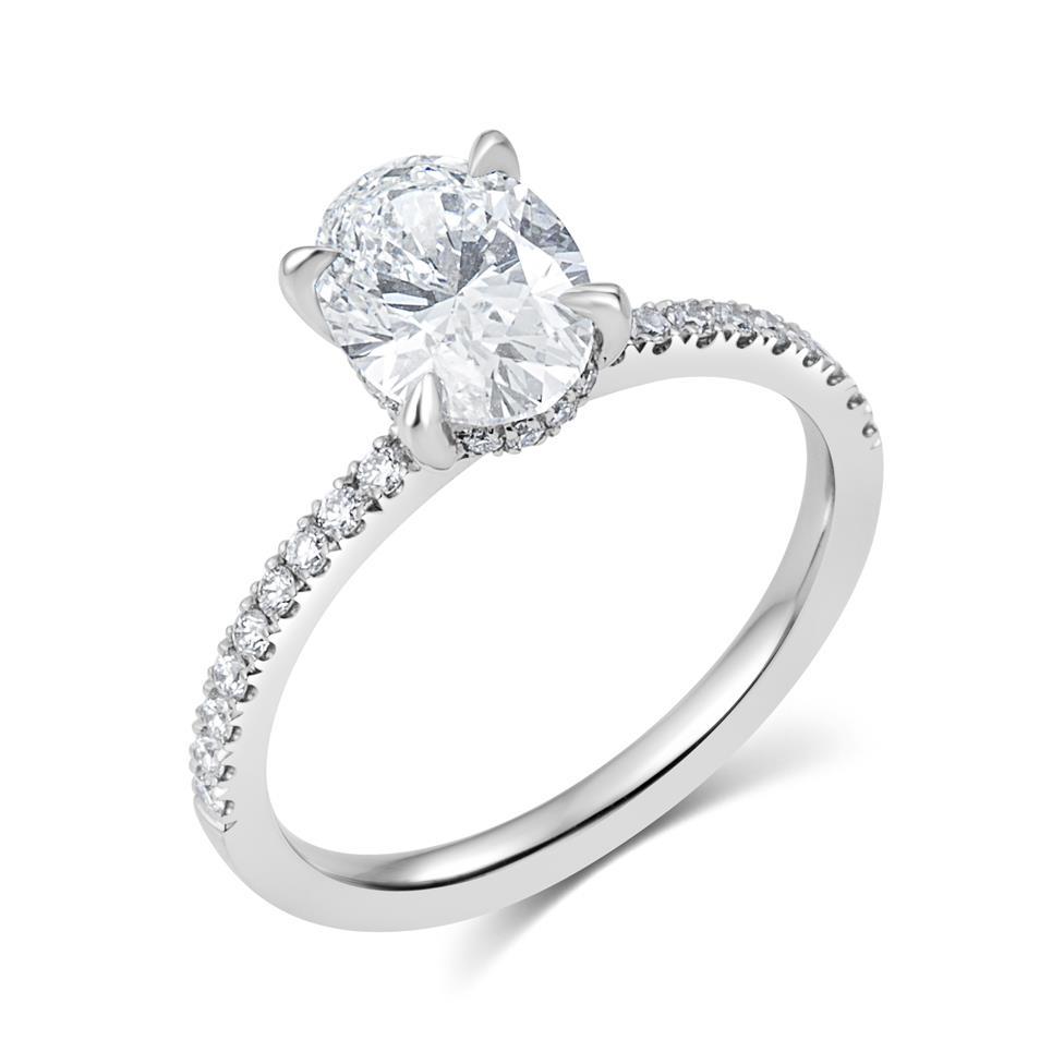 Platinum Bezel Detail Oval Diamond Solitaire Engagement Ring 1.77ct Thumbnail Image 0