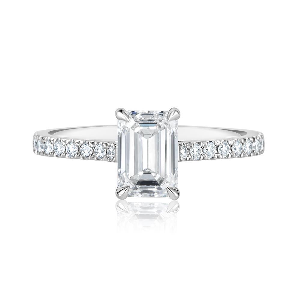 Platinum Emerald Cut Diamond Solitaire Engagement Ring 1.53ct Thumbnail Image 2