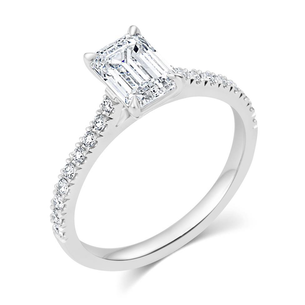 Platinum Emerald Cut Diamond Solitaire Engagement Ring 1.53ct Thumbnail Image 0