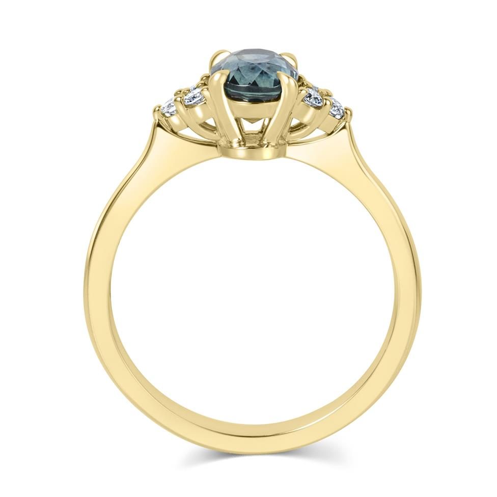 18ct Yellow Gold Oval Teal Sapphire and Diamond Engagement Ring Thumbnail Image 2