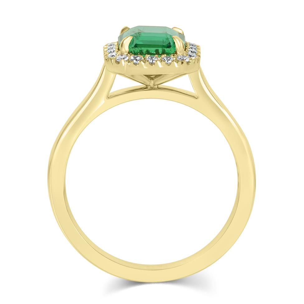 18ct Yellow Gold Asscher Cut Emerald and Diamond Halo Engagement Ring Thumbnail Image 3