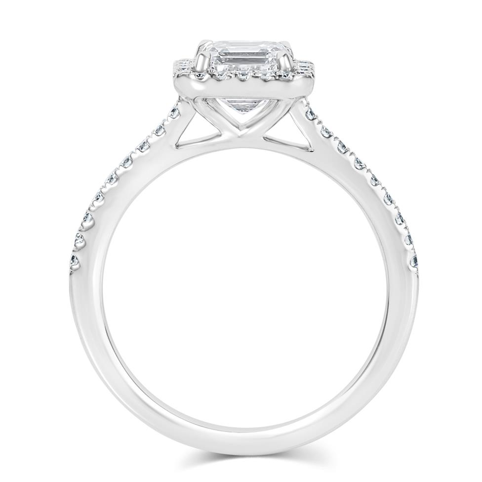 Platinum Asscher Cut Diamond Halo Engagement Ring 1.55ct Thumbnail Image 2