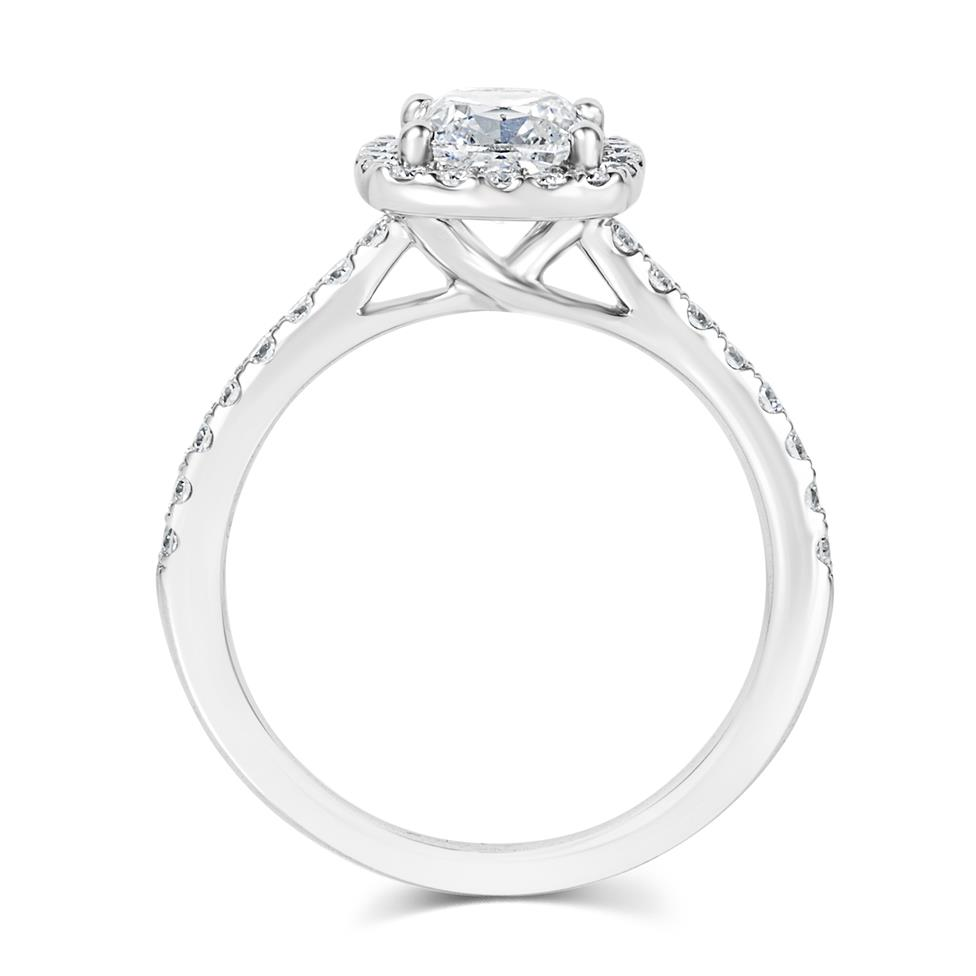 Platinum Cushion Cut Diamond Halo Engagement Ring 1.65ct Thumbnail Image 2