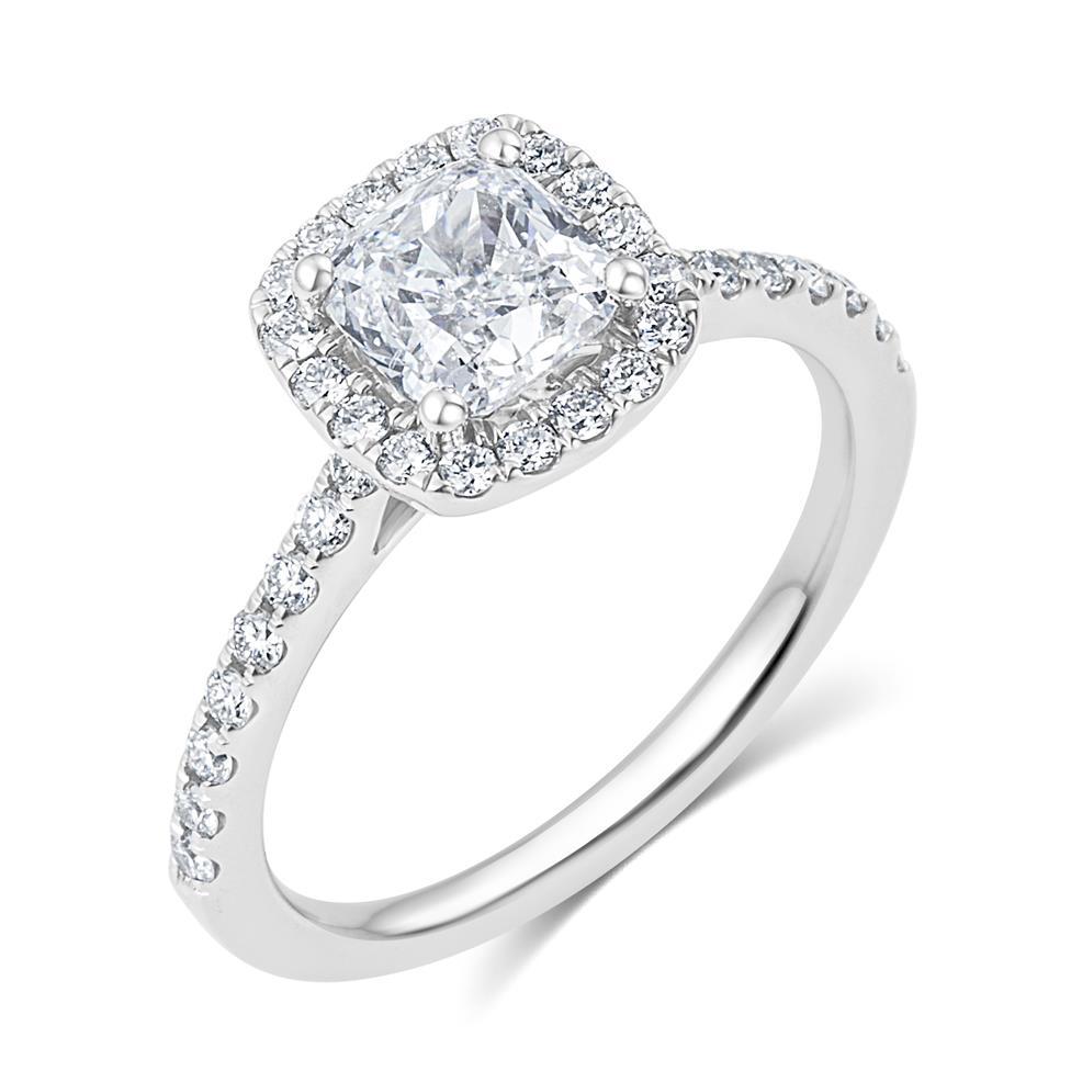 Platinum Cushion Cut Diamond Halo Engagement Ring 1.65ct Thumbnail Image 0