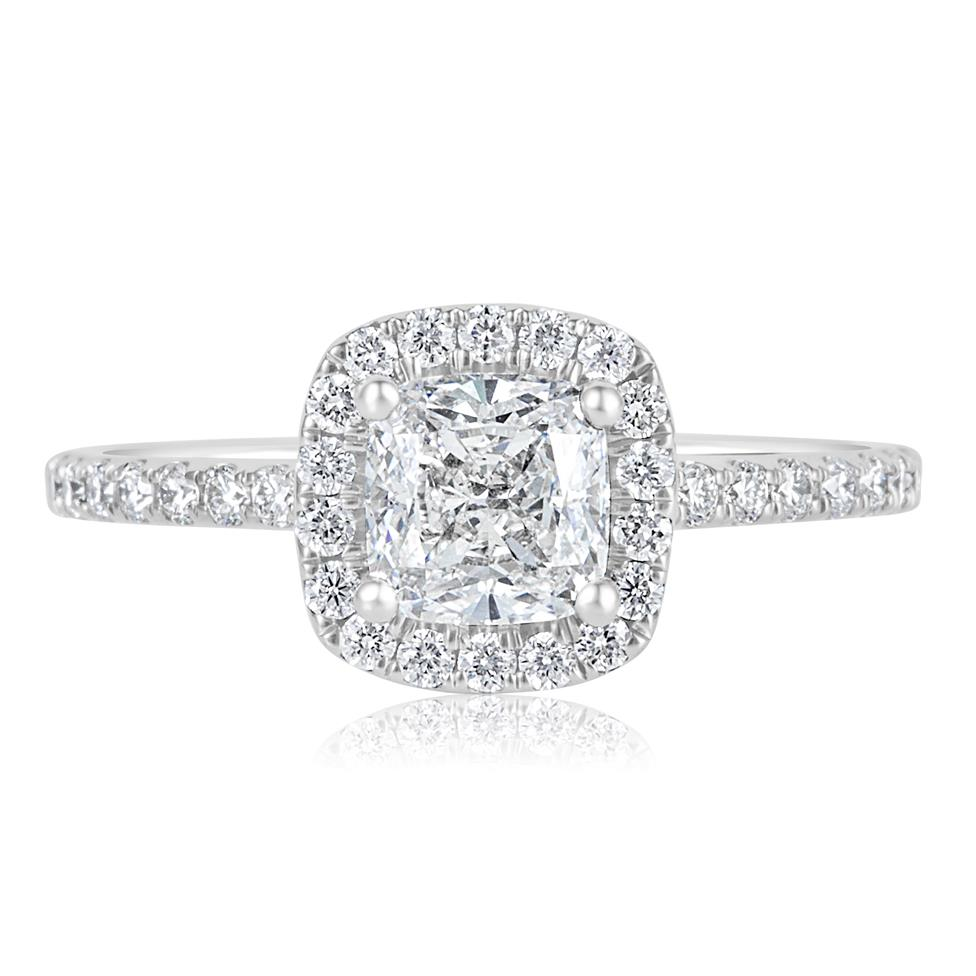 Platinum Cushion Cut Diamond Halo Engagement Ring 1.65ct Thumbnail Image 1