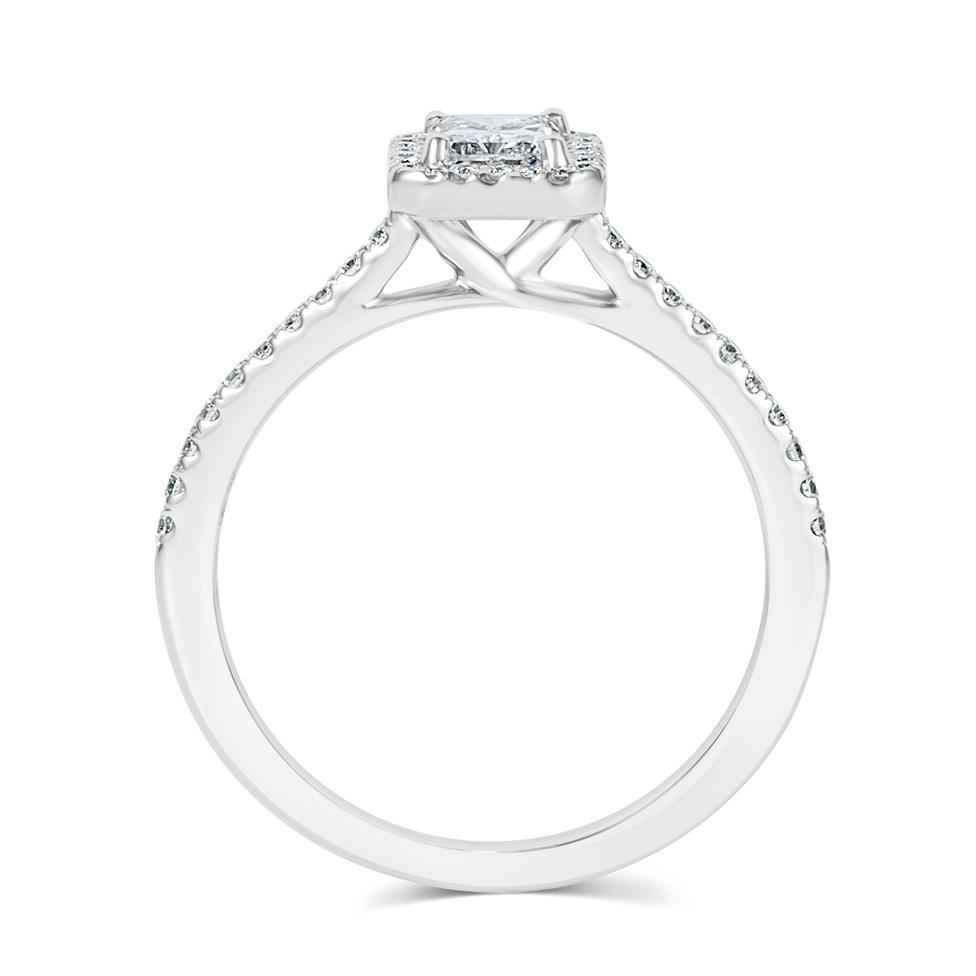 Platinum Radiant Cut Diamond Halo Engagement Ring 0.90ct Thumbnail Image 2