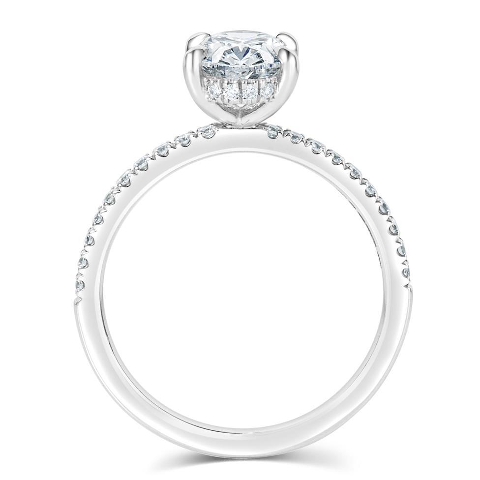 Platinum Bezel Detail Oval Diamond Solitaire Engagement Ring 1.77ct Thumbnail Image 3