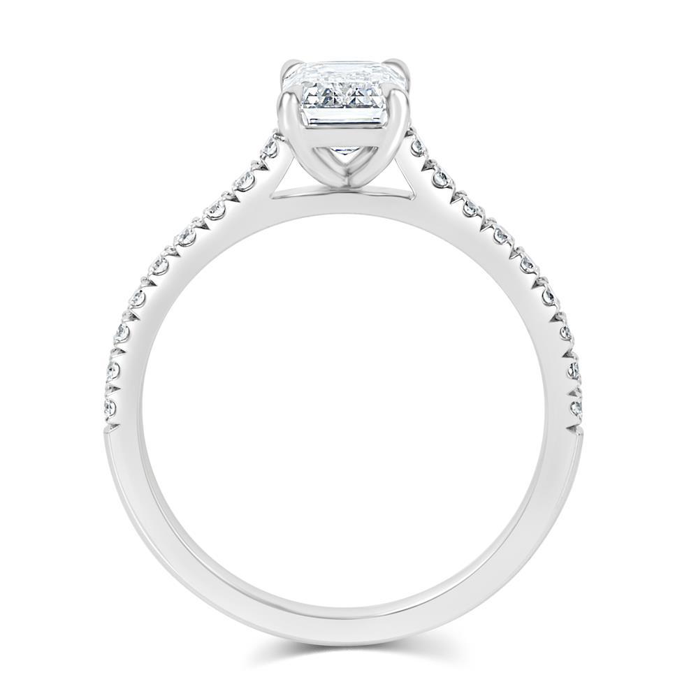 Platinum Emerald Cut Diamond Solitaire Engagement Ring 1.53ct Thumbnail Image 3