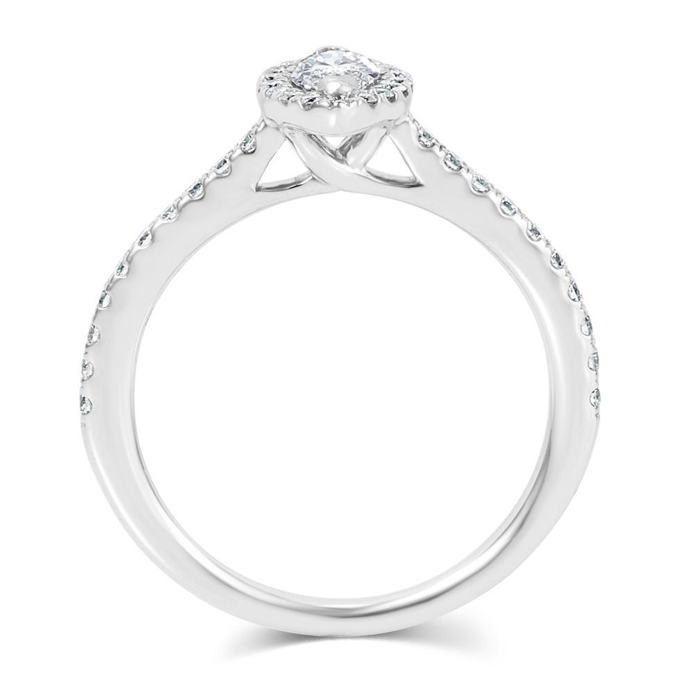 Platinum Marquise Cut Diamond Halo Engagement Ring 0.60ct Thumbnail Image 2