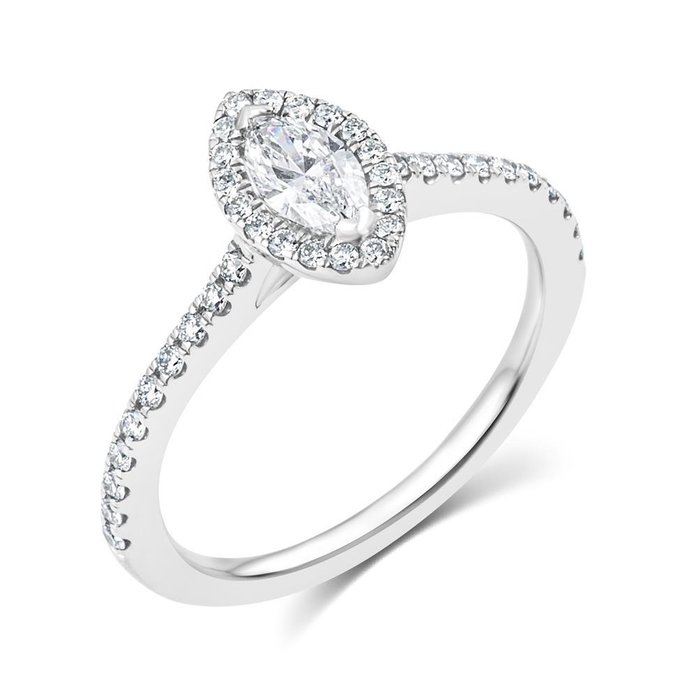 Platinum Marquise Cut Diamond Halo Engagement Ring 0.60ct Thumbnail Image 0