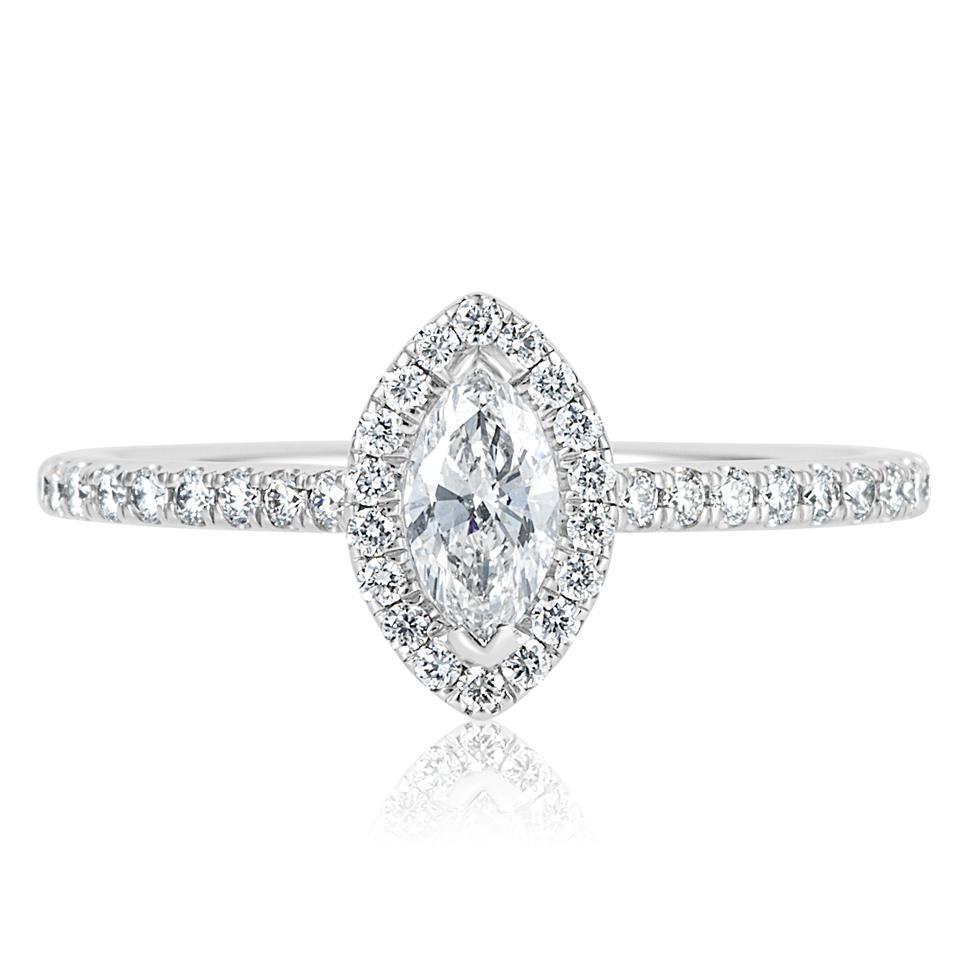 Platinum Marquise Cut Diamond Halo Engagement Ring 0.60ct Thumbnail Image 1