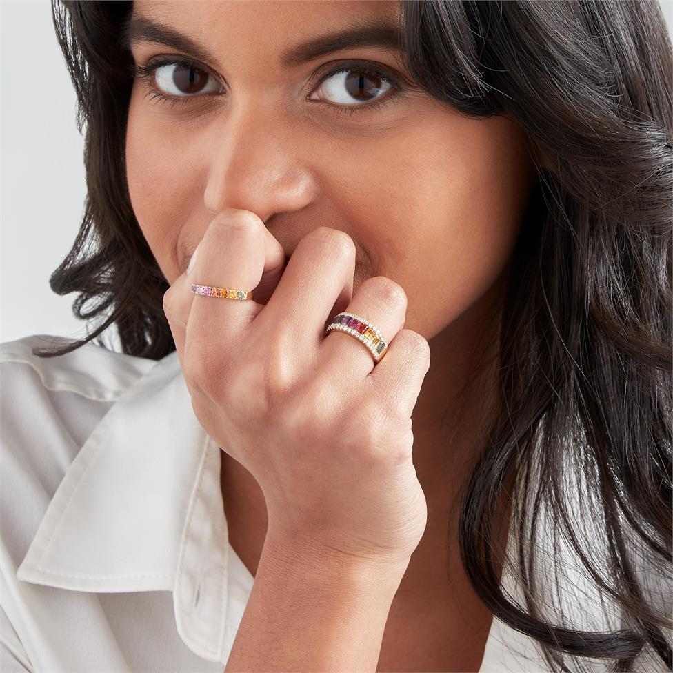 Samba 18ct Yellow Gold Rainbow Sapphire and Diamond Dress Ring Thumbnail Image 1
