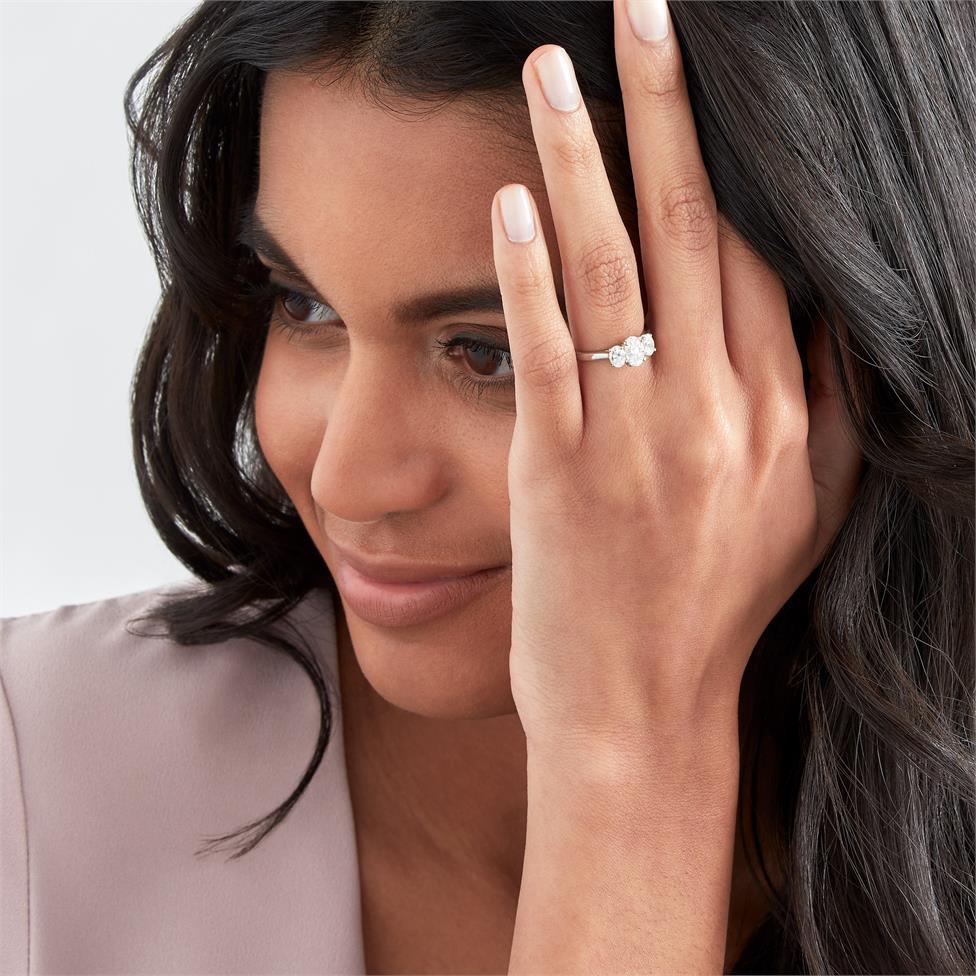Platinum Oval Diamond Three Stone Engagement Ring 1.30ct Thumbnail Image 2