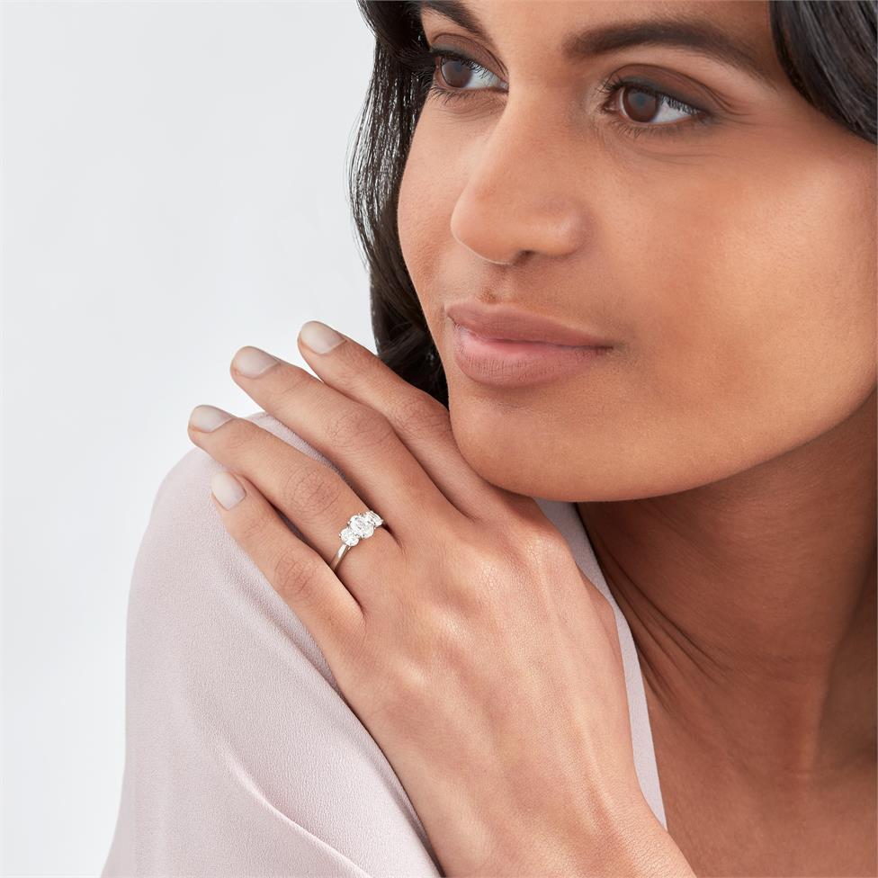 Platinum Oval Diamond Three Stone Engagement Ring 1.30ct Thumbnail Image 1