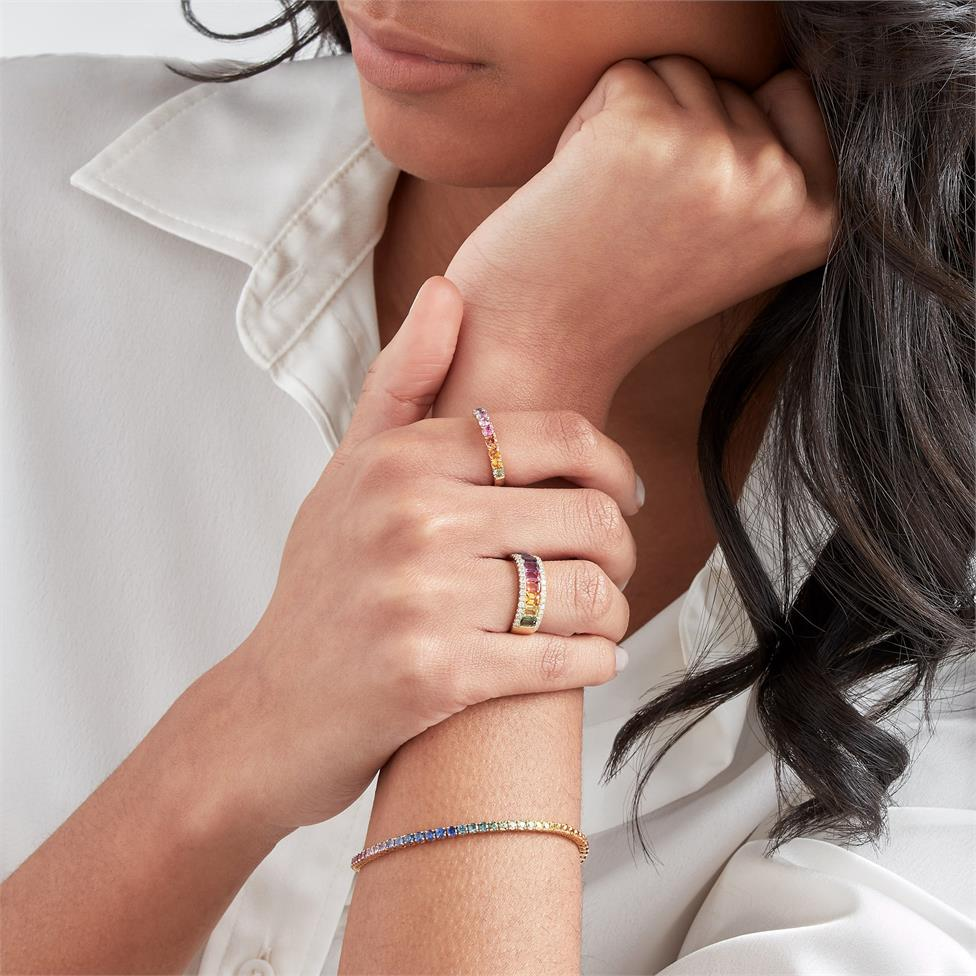 Samba 18ct Yellow Gold Rainbow Sapphire Bracelet Thumbnail Image 2