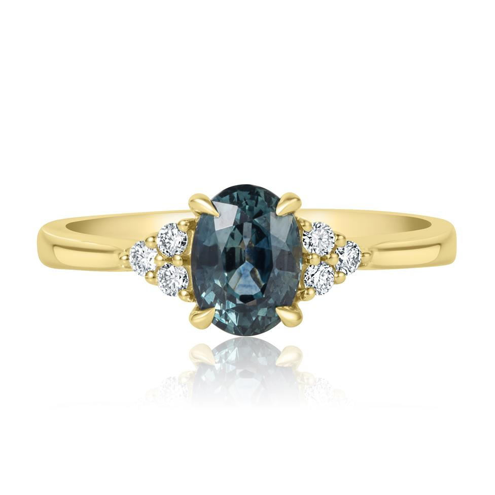 18ct Yellow Gold Oval Teal Sapphire and Diamond Engagement Ring Thumbnail Image 1