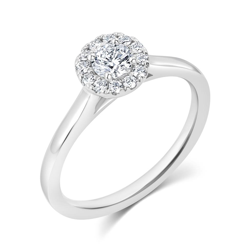 Platinum Round Diamond Halo Engagement Ring 0.40ct Thumbnail Image 0