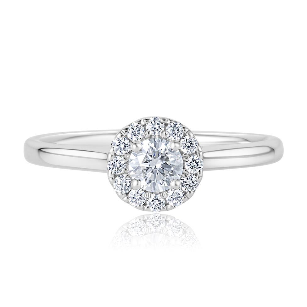 Platinum Round Diamond Halo Engagement Ring 0.40ct Thumbnail Image 1