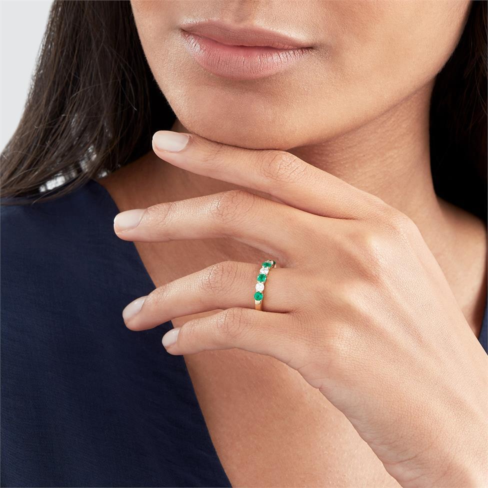 18ct Yellow Gold Emerald and Diamond Half Eternity Ring Thumbnail Image 1