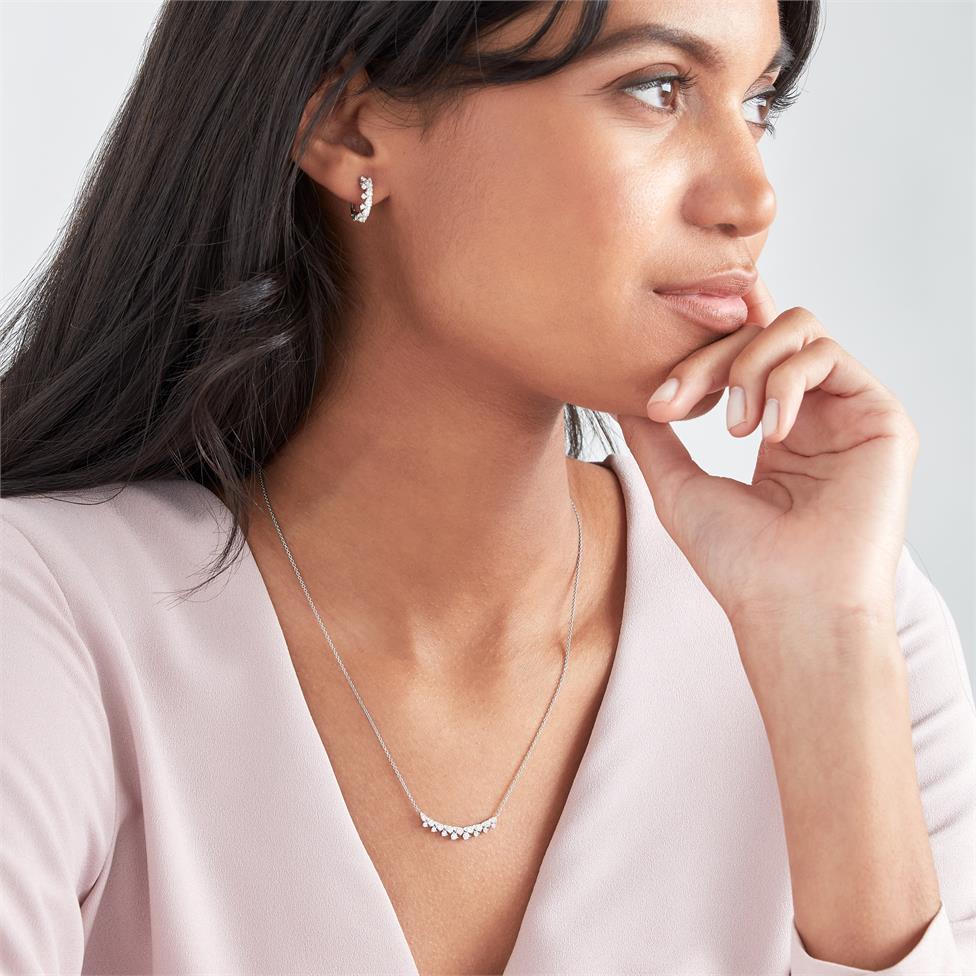 18ct White Gold Fine Petal Design Diamond Hoop Earrings 0.64ct Thumbnail Image 1