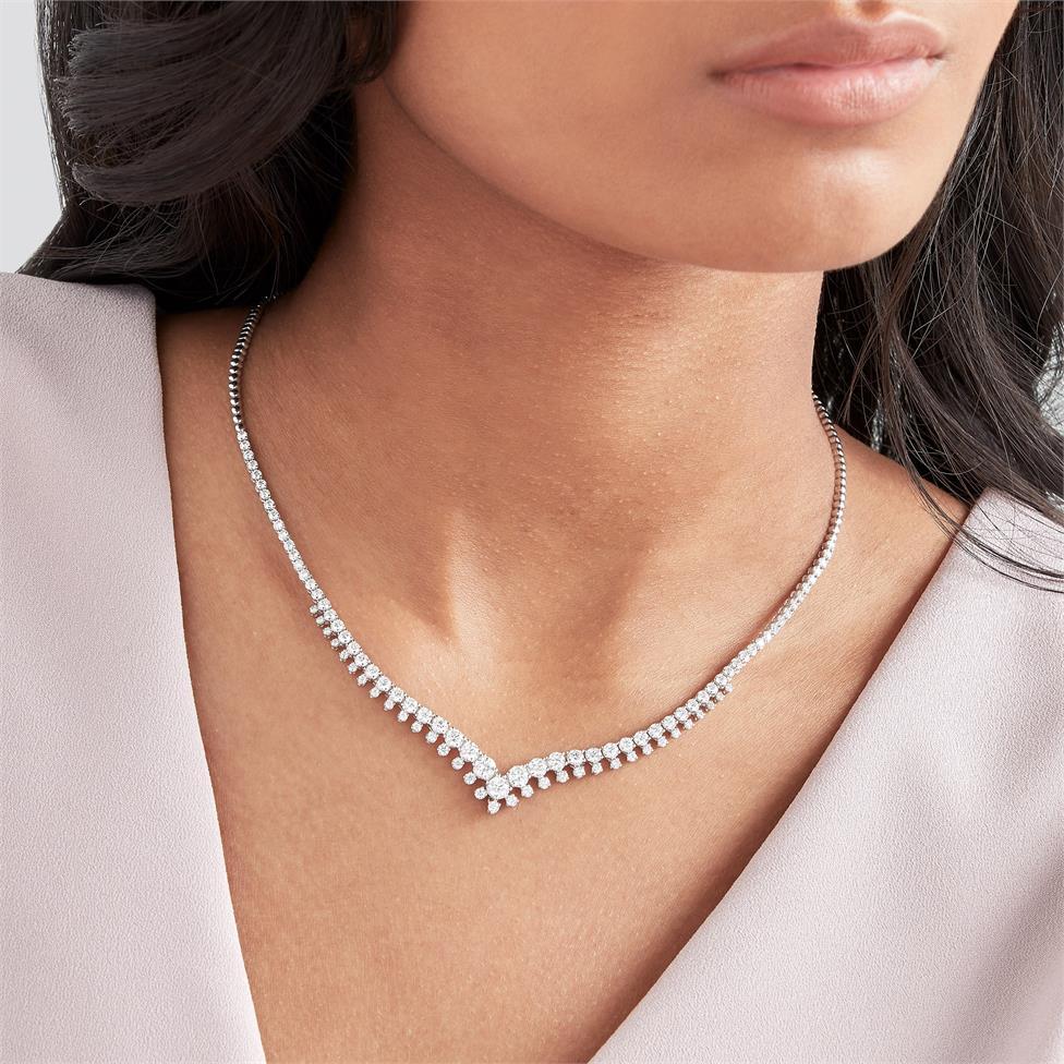 18ct White Gold Diamond Necklace 4.92ct Thumbnail Image 1