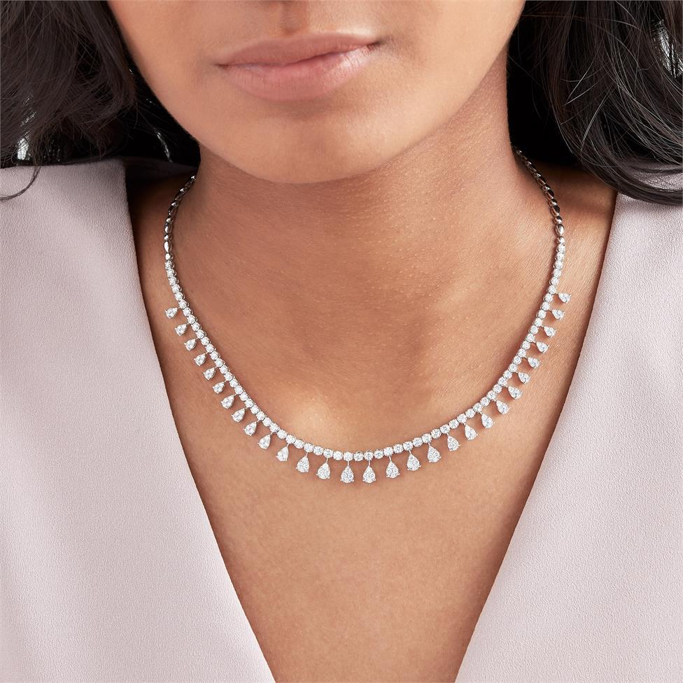 18ct White Gold Illusion Detail Diamond Necklace 4.87ct Thumbnail Image 1
