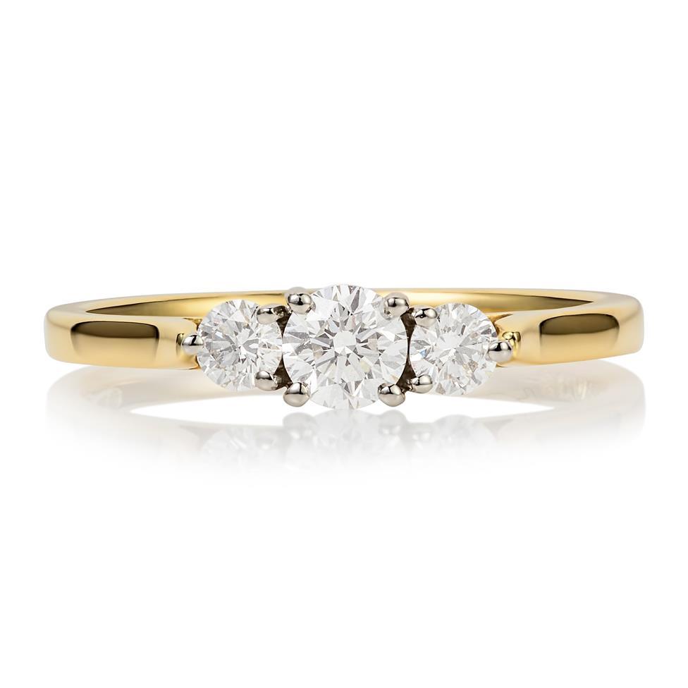 18ct Yellow Gold Diamond Three Stone Engagement Ring 0.50ct Thumbnail Image 2