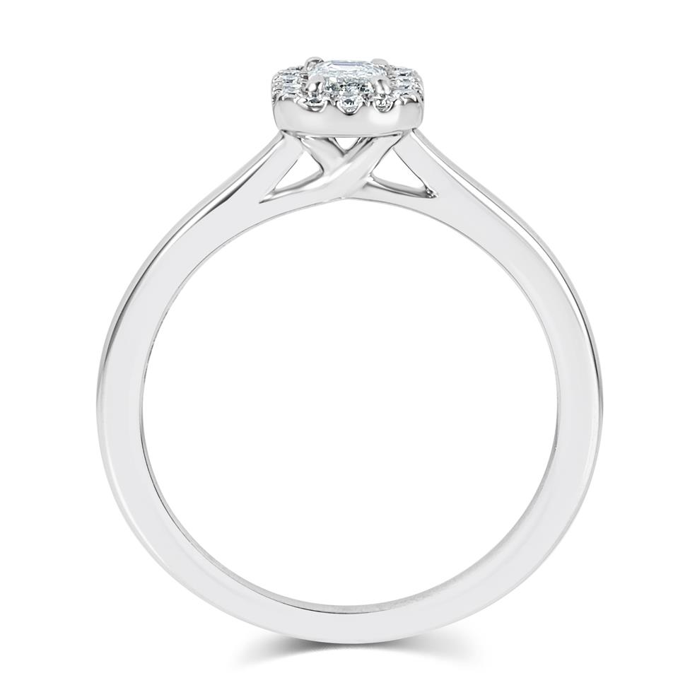Platinum Emerald Cut Diamond Halo Engagement Ring 0.38ct Thumbnail Image 2