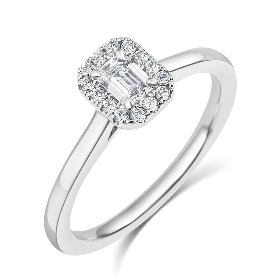 Platinum Emerald Cut Diamond Halo Engagement Ring 0.38ct Thumbnail Image 0