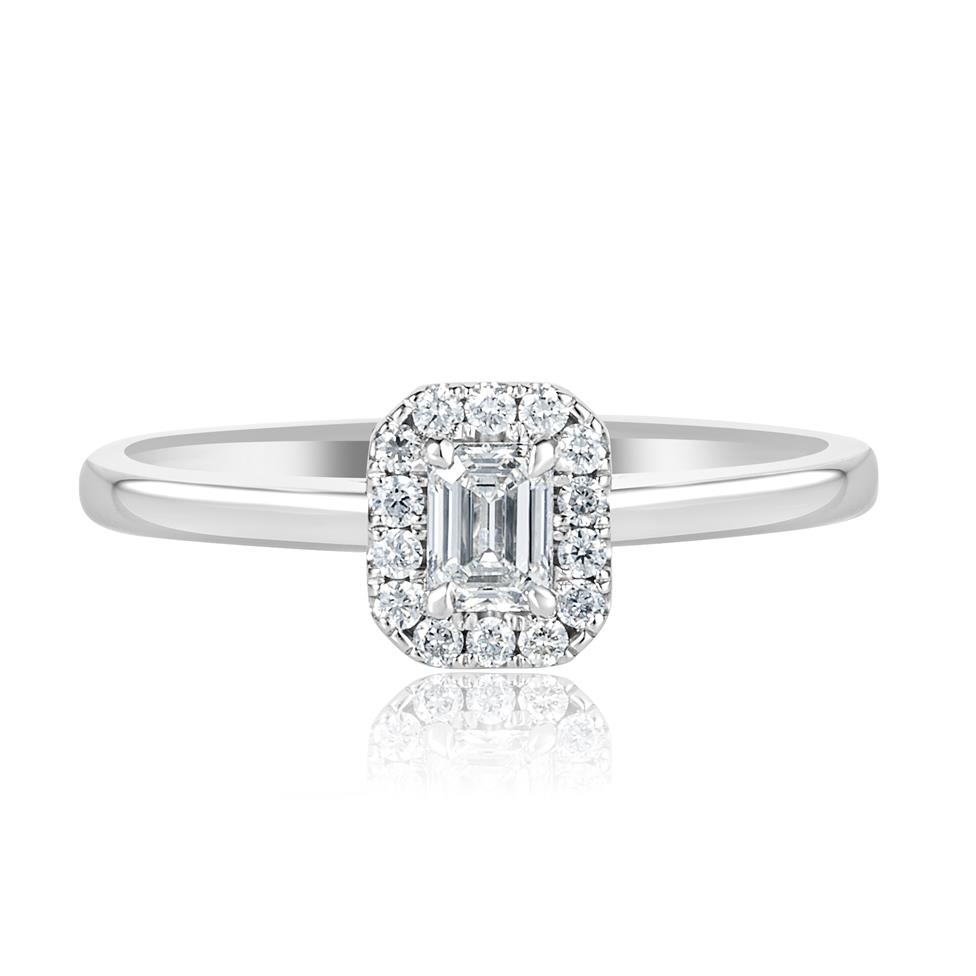 Platinum Emerald Cut Diamond Halo Engagement Ring 0.38ct Thumbnail Image 1
