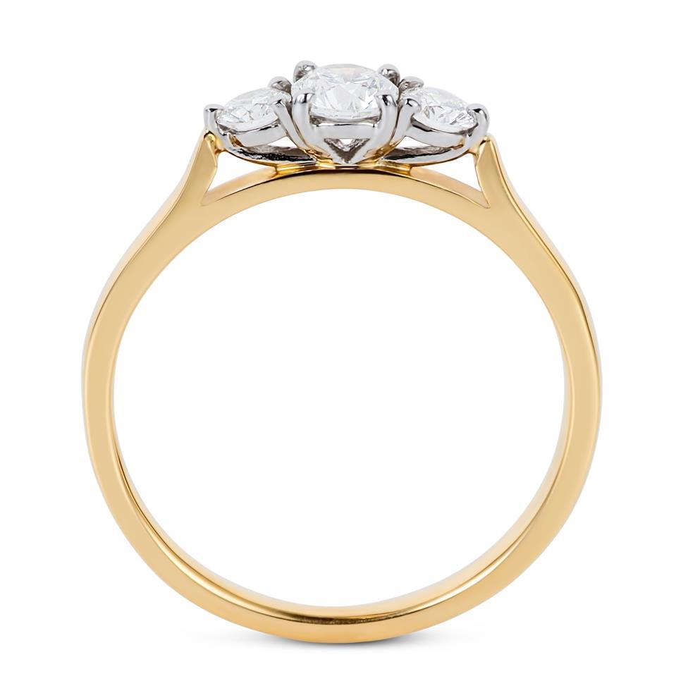 18ct Yellow Gold Diamond Three Stone Engagement Ring 0.50ct Thumbnail Image 3