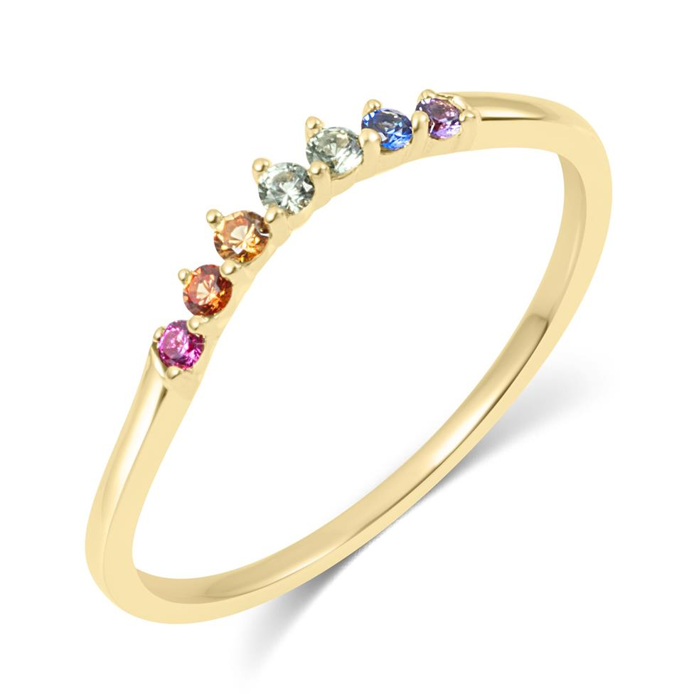 Samba 18ct Yellow Gold Rainbow Sapphire Dress Ring Thumbnail Image 0