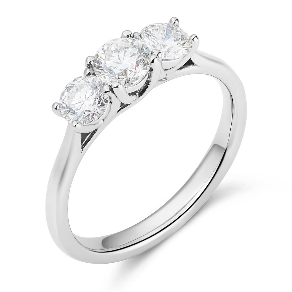 Platinum 1.00ct Three Stone Diamond Ring Thumbnail Image 0