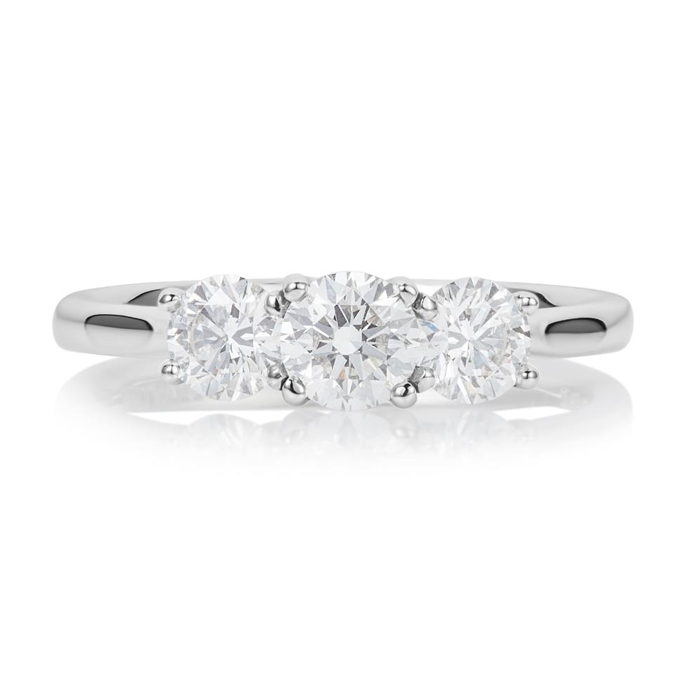 Platinum 1.00ct Three Stone Diamond Ring Thumbnail Image 1