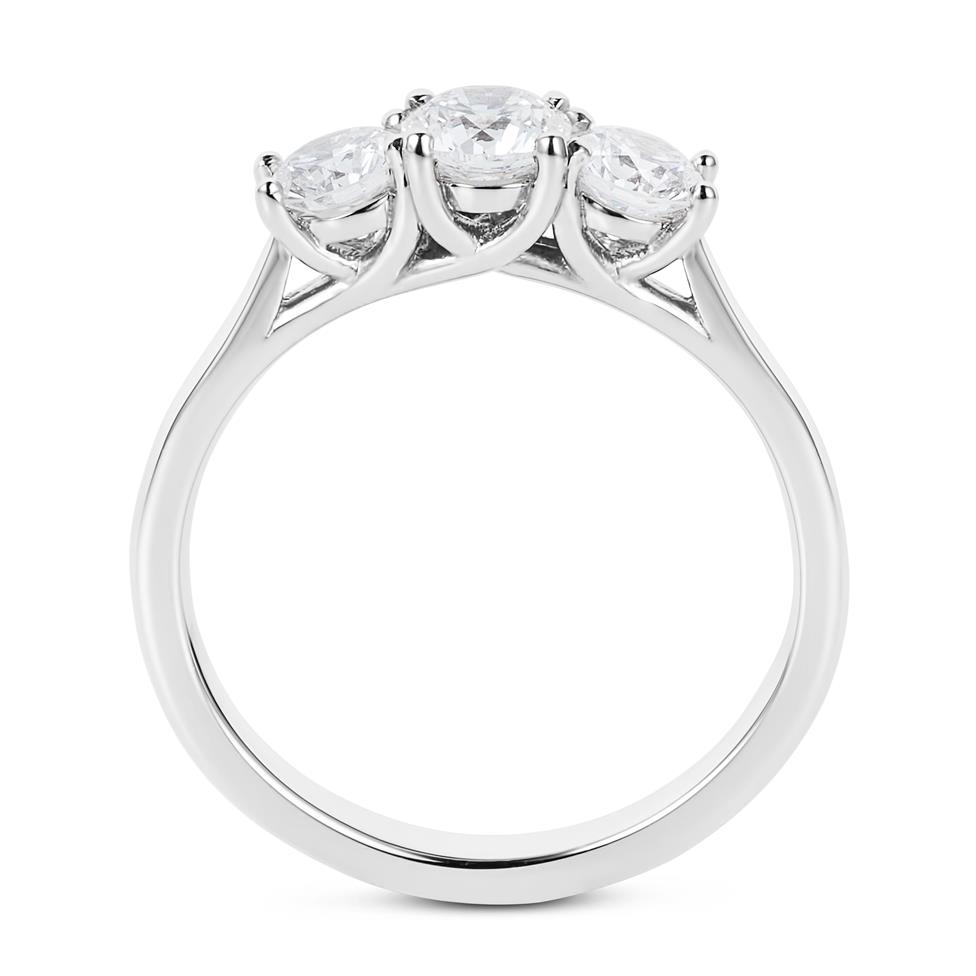 Platinum 1.00ct Three Stone Diamond Ring Thumbnail Image 2
