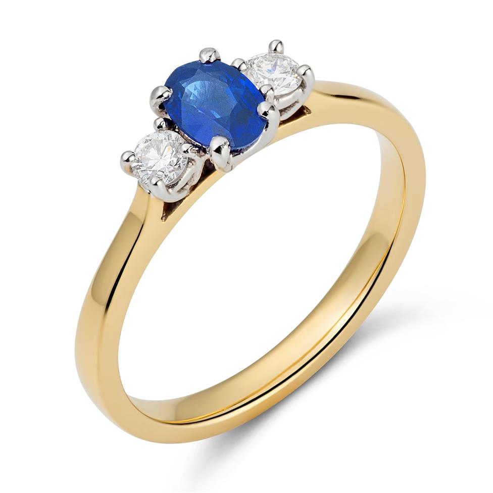 18ct Yellow Gold Sapphire and Diamond Ring Thumbnail Image 1