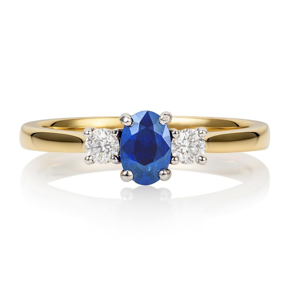 18ct Yellow Gold Sapphire and Diamond Ring Thumbnail Image 0
