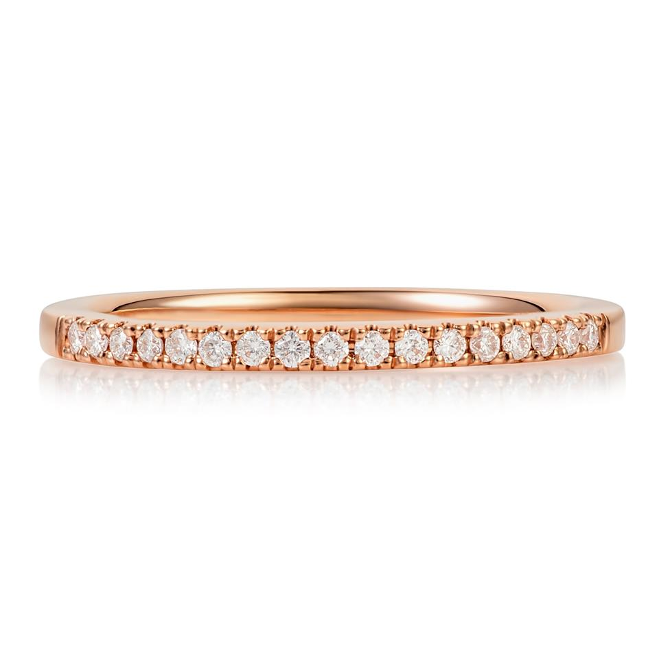 18ct Rose Gold Diamond Set Wedding Ring 0.12ct Thumbnail Image 1