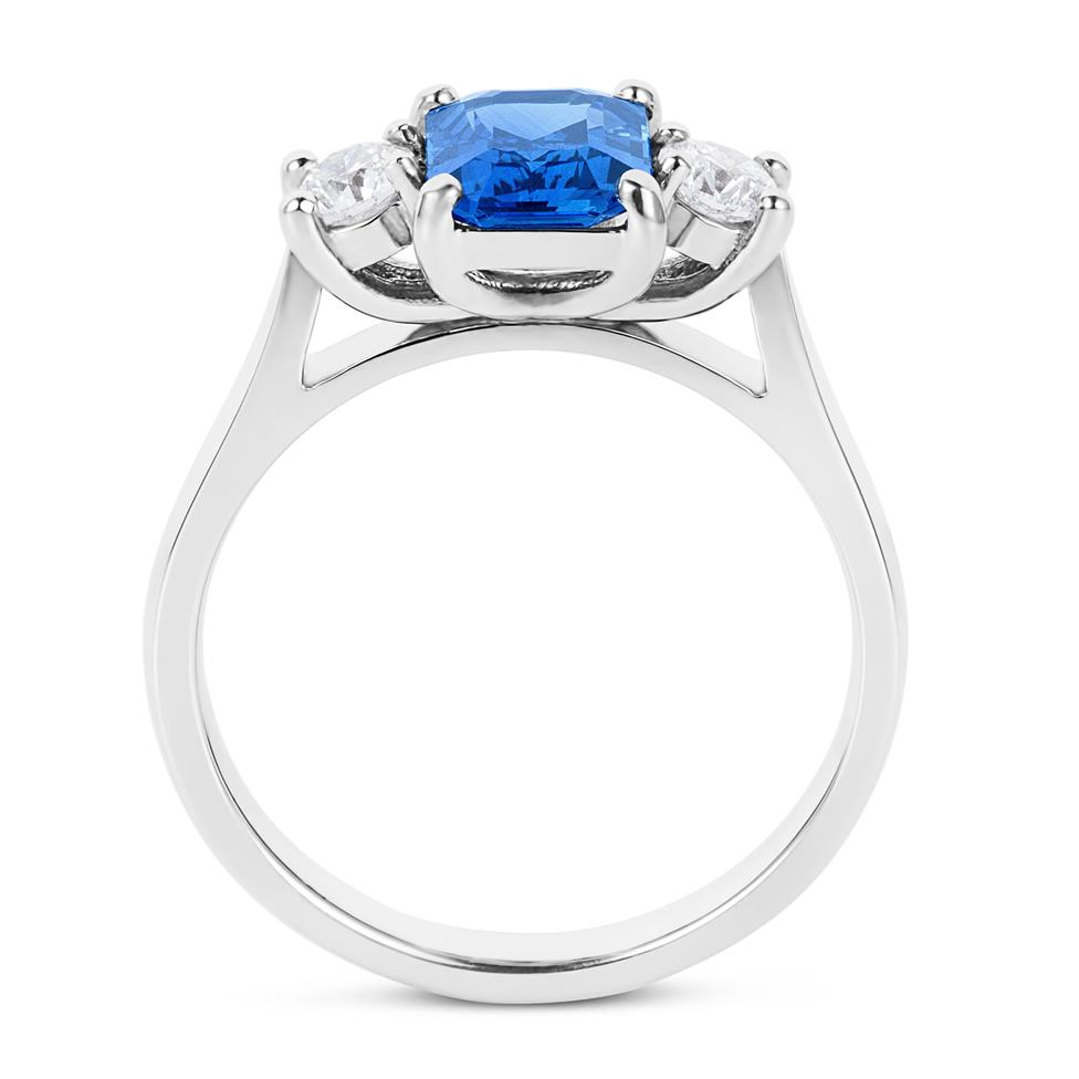 Platinum Emerald Cut Sapphire and Diamond Three Stone Engagement Ring Thumbnail Image 3
