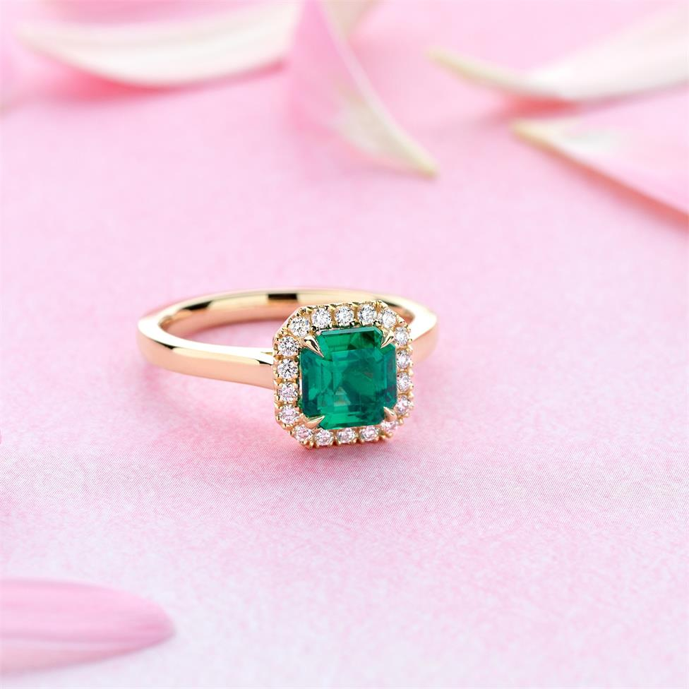 18ct Yellow Gold Asscher Cut Emerald and Diamond Halo Engagement Ring Thumbnail Image 1