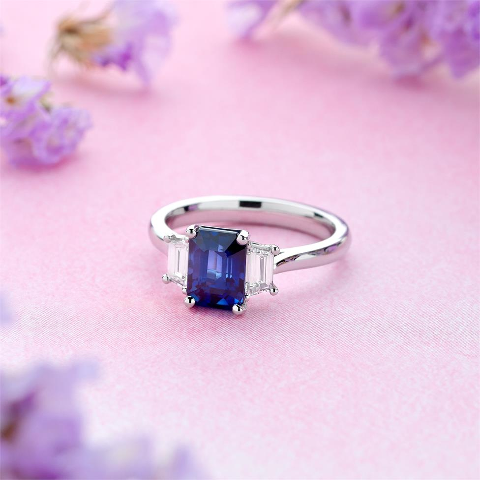 Platinum Sapphire and Trapezium Cut Diamond Three Stone Engagement Ring Thumbnail Image 1