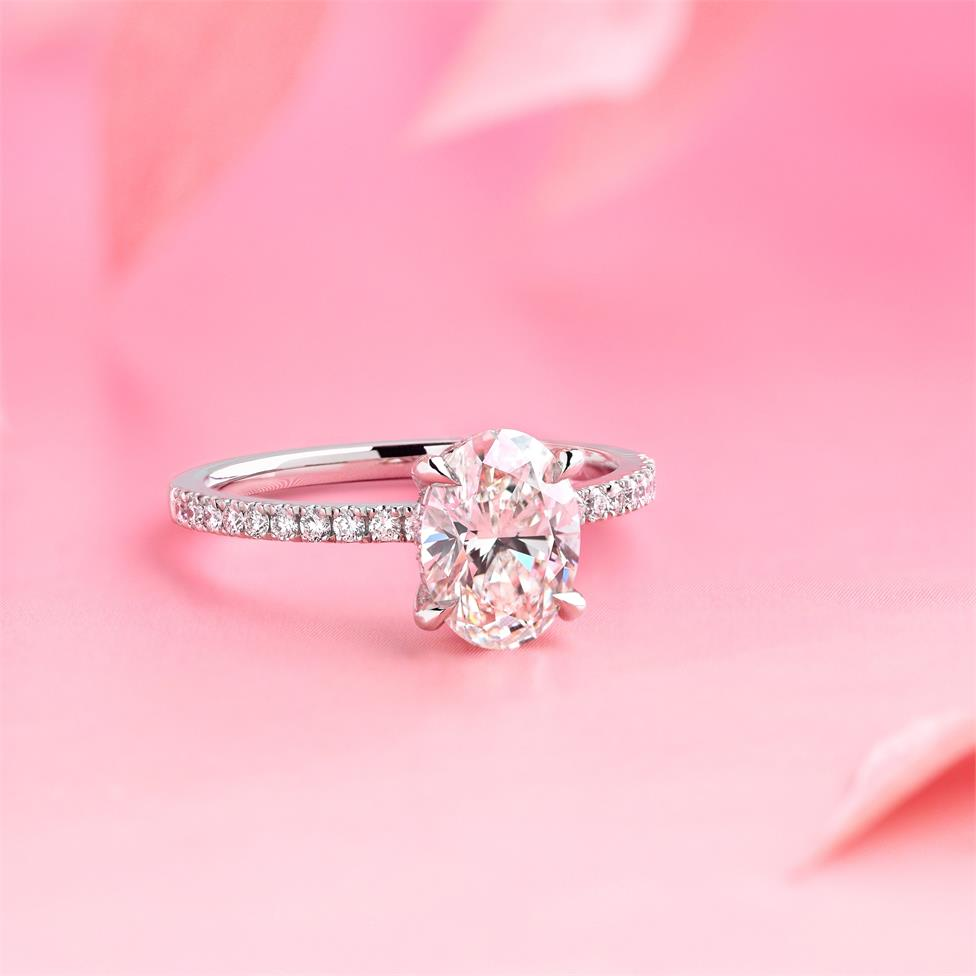 Platinum Bezel Detail Oval Diamond Solitaire Engagement Ring 1.77ct Thumbnail Image 1