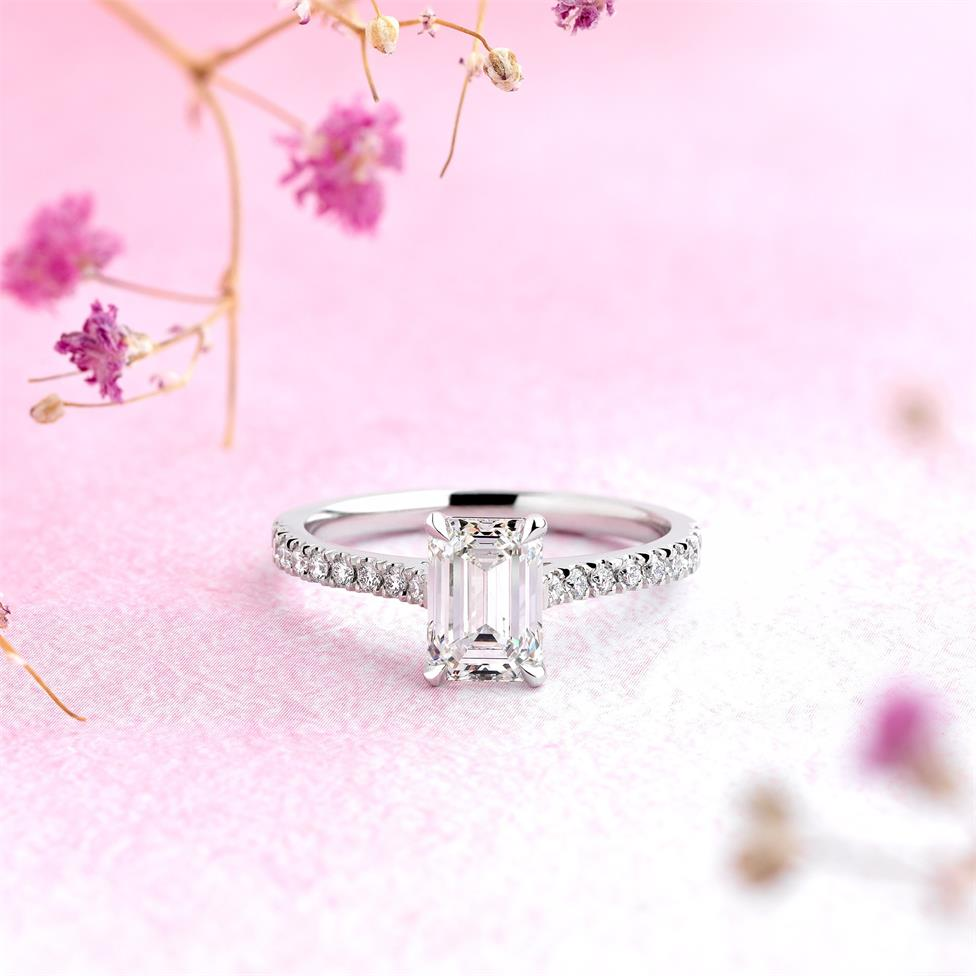 Platinum Emerald Cut Diamond Solitaire Engagement Ring 1.53ct Thumbnail Image 1