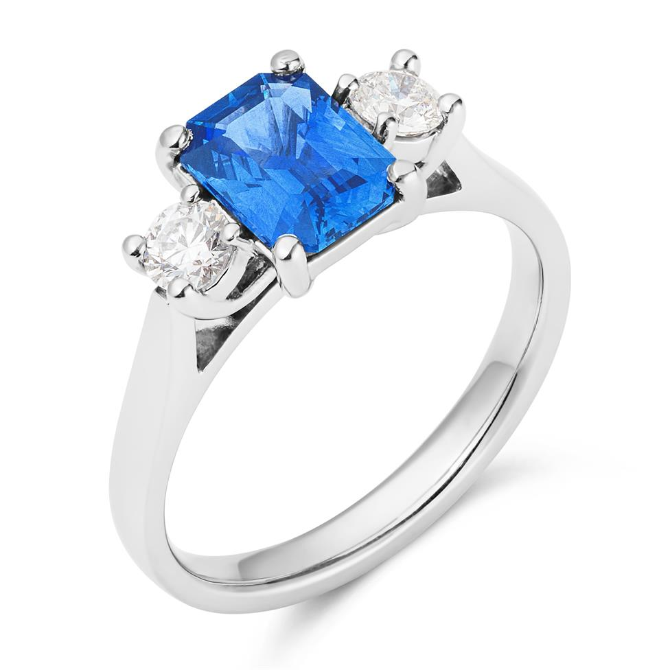 Platinum Emerald Cut Sapphire and Diamond Three Stone Engagement Ring Thumbnail Image 0