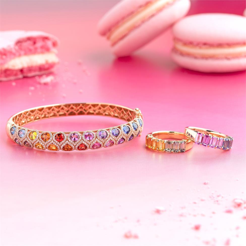Samba 18ct Rose Gold Emerald Cut Multicoloured Sapphire Dress Ring Thumbnail Image 2