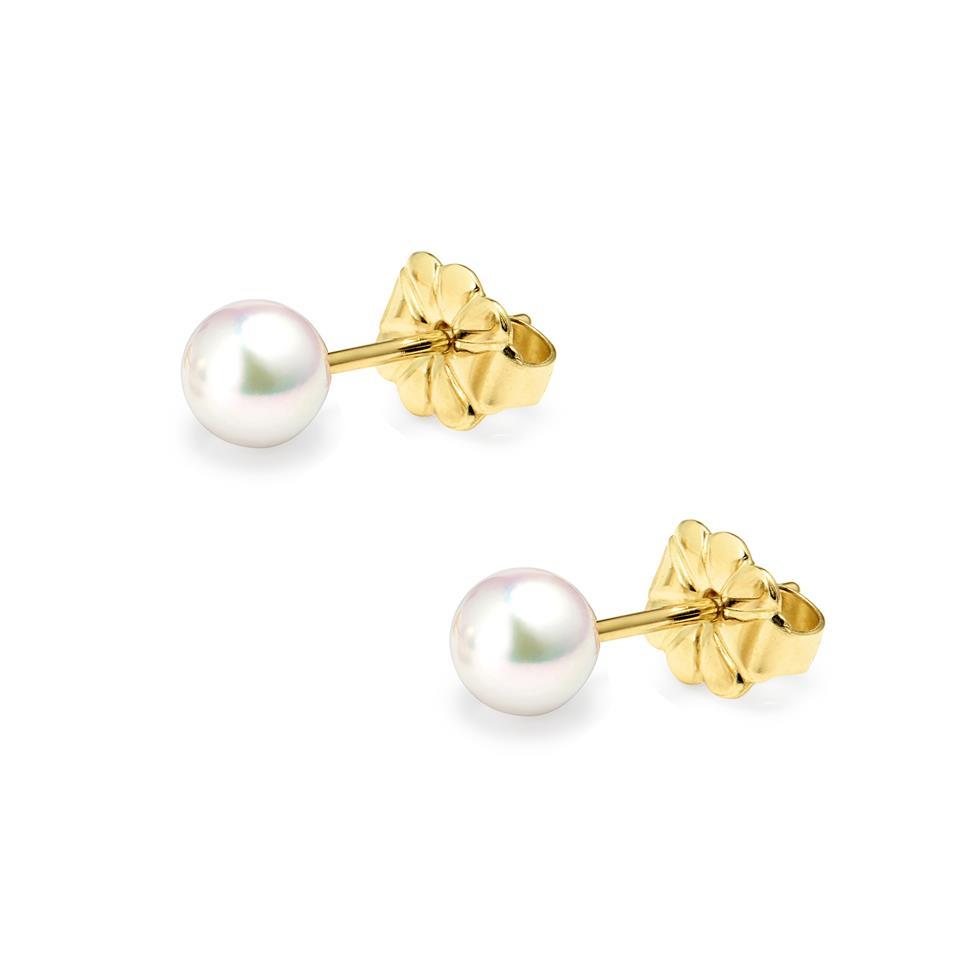 18ct Yellow Gold Akoya AAA Grade Pearl Stud Earrings 4.0mm Thumbnail Image 0